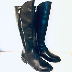 Tahari Billings Black Leather Riding Boot Sz 6.5